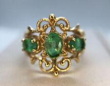 Estate Vintage 10k Yellow Gold Oval Shape Green Emerald Three Stone Ring