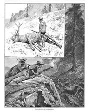 Wapiti Hunting in North America - Antique Print 1886