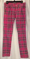 Vintage Tripp NYC Red Tartan Plaid Punk Skinny Jeans Pants Adult 3