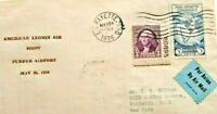 American Legion Air Show vintage paper stamps cover envelope Purdue Airport 1936