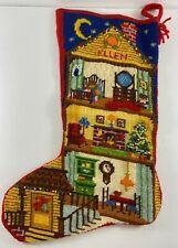 Vintage Needlepoint Christmas Handmade 15 in House Stocking ELLEN
