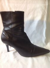Faith Black Ankle Leather Boots Size 6