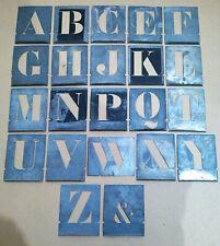 22 ancien pochoirs lettre de l'alphabet en zing hauteur 10 cm lettre majuscule