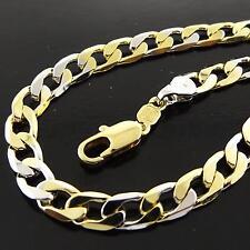 Gold G/F Solid Men'S Curb Link Bracelet Cuff Bangle Genuine Real 18K Multi-Tone