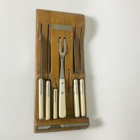 Vintage WEAR-EVER 6 Piece Knife Set With Wood Holder Stainless White Handle