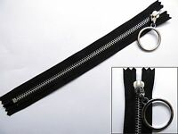 Zip, Zipper, Hanging Ring Puller, Closed End, Metal, YKK, Black