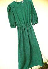 Vtg 80S Usa Shiny St Patricks Day Green Secretary Pebble Print P S M Dress Women