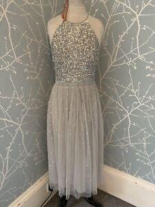 Maya Deluxe Silver Embelished Bridesmaid Dress Soft Grey Bnwt Size 10