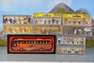 Preiser Noch H0 1:87 Anlagenausstattung Figuren & Bus 9-tlg Nr. 33204 & 10016