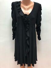 JOSEPH RIBKOFF size UK 14 Black Stretch Dress 3/4 Sleevess Ruffle / Frill