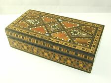 Antique Tunbridge ware inlaid wooden box mother of pearl & bone