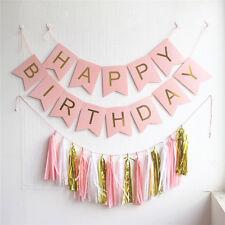 1 set Happy Birthday Bunting Banner Pink White Gold Tissue Paper Tassel Garland