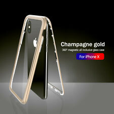 Metal Magnetic Adsorption Case For iPhone XR XS Max XS Tempered Glass Back Cover