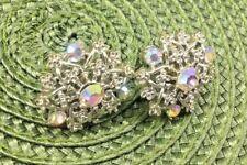 Coro Earrings Vintage Rhinestone Crystal AB & Silvertone Floral Screwback