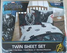 Marvel Black Panther 3 Piece Twin Sheet Set Kids Boys Girl New.