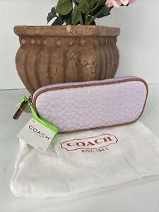 New Coach Eyeglass Case Jacquard Lilac Mini Signature Tan Leather F60156 B13