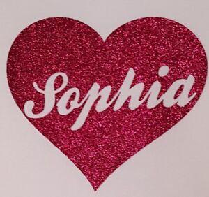 Personalised Heart Name Glitter Iron On vinyl Transfer