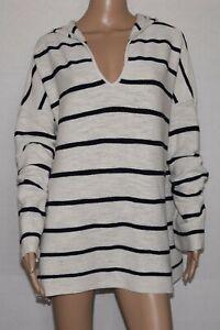 J.Jill Blue Ivory Striped V-Neck Hooded Top Tunic Size XL