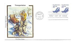 "2135 17c Dog Sled 1920s plt#2 Transportation series, Colorano ""Silk"" Cachet FDC"