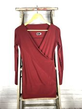 Women's SYMPLI THE BEST Made in Canada Maroon Red Faux Wrap Tunic Top Size 4
