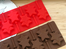 6 x Silicone Twin Star Lollipop Chocolate Mould Ice Cube Jelly Lolly Kids Fun
