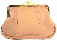 Ladies Leather Double Clip Frame Fastening Coin Purse / Pouch (Black, Tan, Red)
