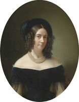 Beautiful oil painting female portrait noblelady in landscape canvas handpainted