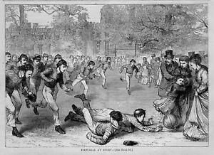 FOOTBALL AT RUGBY 1870 SPORT FIELD SPECTATORS PLAYERS HEADGEAR JERSEY FOOTBALL