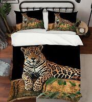 3D Jaguar N67 Animal Bed Pillowcases Quilt Duvet Cover Queen King Amy