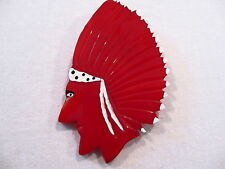 JL Foltz Signed Bakelite Deeply Carved Red American Indian-Head Pin
