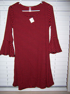 JUSTICE Dress Red/Black Stripes Girls Size 20 NWT Bell Sleeves