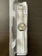 Swatch BIANCAMENTE Chronograph Silver Dial White Leather Watch YCS111