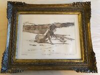 "FRANK PALMIERI Original Artist Proof ""On The Beach"" Girl on Sand ~ Signed RARE"