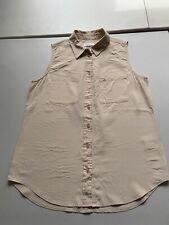 Equipment Femme Silk Blouse Light Tan Sleeveless Button Down Shirt SZ Medium