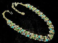 Vintage costume jewellery necklace goldtone & blue & green diamante, Lisner/Coro