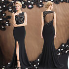 Sexy Womens Black Long Lace Evening Party Dress Prom Bridesmaid Formal Ball Gown