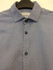 Used Mens Small Blue Spotted Smart Casual Long Sleeve Shirt Zara Slim Fit