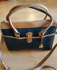 Dooney & Bourke Large Vintage Black & Tan Pebbled Leather Handbag Purse