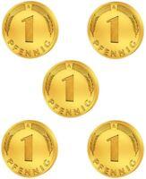 5 x 1 Pfennig - Glückspfennig - vergoldet - Geburtstag / Geschenk / DM /  Mark