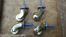 4 x SOLID BRASS WHEEL CASTORS 30mm TO SCREW FURNITURE CHAIR TABLE RESTORE