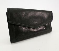 Fossil Pebbled Leather Long Wallet Checkbook ID Holder Black