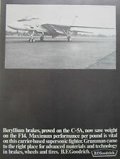 8/1970 PUB BF GOODRICH CARRIER BASED FIGHTER F-14 TOMCAT BRAKES WHEELS TIRES AD