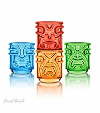 Final Touch TIKI Stackable Tumblers Drinking Glasses Coloured 355ml Pack of 4