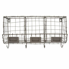 Wire Wall Storage Unit Organiser 21.5x40cm Three Compartments