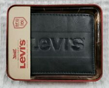LEVIS Mens Black Leather Bifold Wallet Logo Embossed w/ Gift Box NEW!