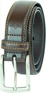 Dockers Men's 35MM Feather Edge Leather Belt with Stitch Brown