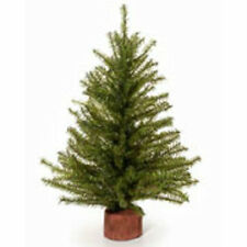 Indoor Artificial 15 Inch Mixed Pine Green Christmas Tree Wooden Base Unlit