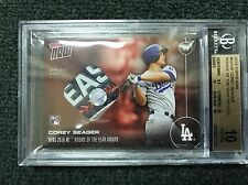TOPPS NOW #OS-16F COREY SEAGER NLDS JERSEY SWATCH RELIC /10 ROY RARE BGS 10