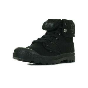 Chaussures Boots Palladium homme Us Baggy taille Noir Noire Textile Lacets