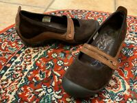 MERRELL PLAZA BANDEAU ESPRESSO BROWN SUEDE LEATHER 8 MARY JANE LOW WEDGE MOCS LN